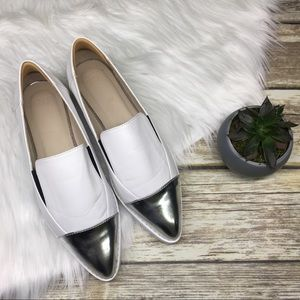 ASOS White and Silver Pointed Toe Slip on Loafer